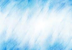 Blauer Aquarellhintergrund des Winters Rand der Farbband-, Lorbeer- und Eichenblätter Stockbild