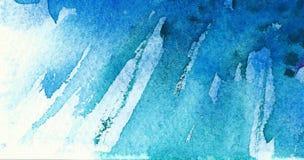 Blauer Aquarellhintergrund Diagonale Bürstenanschläge stockbilder