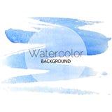 Blauer Aquarellhintergrundschwarztext-Weißkreis Stockbilder