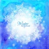 Blauer Aquarellwinterhintergrund mit Schneeflocken Stockfotografie