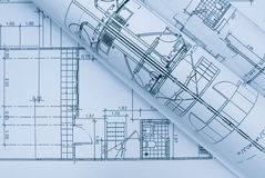Blauer Architekturplan Stockfotografie
