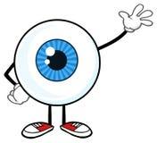 Blauer Augapfel Guy Cartoon Mascot Character Waving für den Gruß stock abbildung