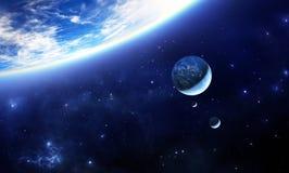 Blauer ausländischer Planet mit Monden Stockbilder