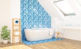 Blauer Badezimmerinnenraum lizenzfreie stockbilder