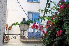 Blauer Balkon, rosa Blumen und die Straßenbeleuchtung Stockfotografie
