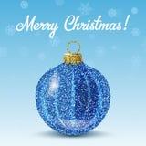Blauer Ball des Vektors Weihnachtsauf Schneeflockenhintergrund vektor abbildung
