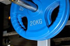 Blauer Barbell überzieht 20 Kilogramm auf einem Metallgestell Stockbild