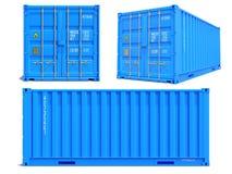 Blauer Behälter in 3D lokalisiert auf Weiß Stockbilder