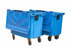 Blauer Behälter lokalisiert auf Weiß Lizenzfreie Stockfotos