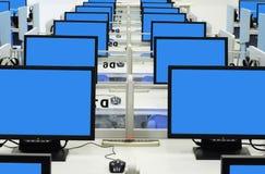 Blauer Bildschirm des Computerraumes Stockfotografie