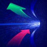 Blauer binärer Tunnel der Pfeile Stockfoto