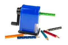 Blauer Bleistiftspitzer Lizenzfreies Stockbild