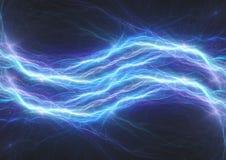 Blauer Blitzbolzen, abstraktes elektrisches Plasma Stockbild