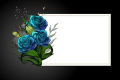 Blauer Blumenblumenstrauß auf weißem Rahmen mit strenger Postkartenschablone des Trauerrandes