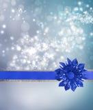 Blauer Bogen und Farbband mit blauen Leuchten vektor abbildung
