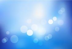 Blauer bokeh Auszugs-Leuchtehintergrund. Vektor Stockbild