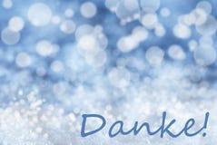 Blauer Bokeh-Weihnachtshintergrund, Schnee, Danke-Durchschnitte danken Ihnen Stockbilder