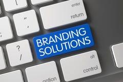 Blauer Branding-Lösungs-Schlüssel auf Tastatur 3d Stockbild