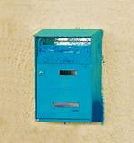 Blauer Briefkasten Stockbild