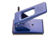 Blauer Büroloch Puncher Lizenzfreies Stockfoto