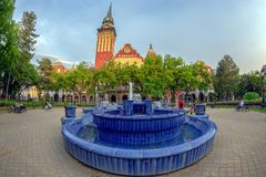 Blauer Brunnen und Rathaus in Subotica, Serbien stockbilder