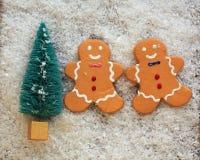 Blauer bunter Weihnachtsbaum im Schnee mit zwei Lebkuchenplätzchen lizenzfreie stockfotografie
