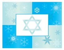 Blauer Chanukka-Feiertags-Schneeflocken-Karten-Hintergrund vektor abbildung