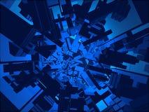 Blauer computererzeugter futuristischer Tunnel der Fantasie Stockfotografie