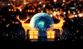 Blauer Crystal Bauble Gold Christmas Deer-Geschenk 3D bokeh Hintergrund Stockbilder