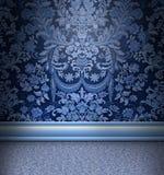 Blauer Damast-Raum Stockbilder