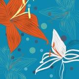 Blauer dekorativer Hintergrund mit Lilienblumen Stockfoto