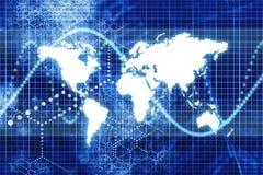 Blauer Digital-Weltgeschäfts-Auszug Lizenzfreies Stockbild
