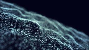 Blauer digitaler Wellenhintergrund-Zusammenfassungstitel verwischte die Animation des Partikels nahtlos Kamera summen herein laut vektor abbildung