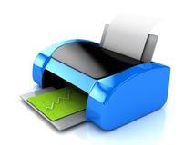blauer Drucker 3d über Weiß Stockbilder