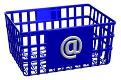 Blauer Einkaufskorb mit Zeichen @ Lizenzfreies Stockfoto