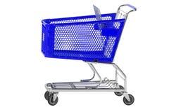 Blauer Einkaufswagen Stockbild