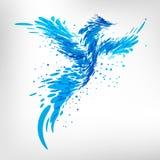 Blauer Fantasievogel von den Wassertropfen Stockbilder