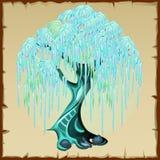Blauer feenhafter Baum mit üppigem Laub Lizenzfreie Stockfotografie