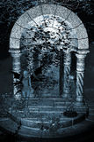Blauer feenhafter Tempel-Hintergrund Stockfotos