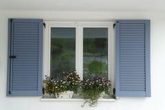 Blauer Fensterblendenverschluß Stockfotografie