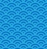 Blauer Fischschuppehintergrund von konzentrischen Kreisen Abstraktes nahtloses Muster sieht wie Meereswellen aus Auch im corel ab Lizenzfreie Stockfotografie