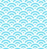 Blauer Fischschuppehintergrund von konzentrischen Kreisen Abstraktes nahtloses Muster sieht wie Meereswellen aus Auch im corel ab Stockfotografie