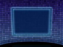 Blauer Flieseraum mit Tablette Lizenzfreie Stockbilder