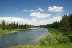 Blauer Fluss in der grünen Landschaft lizenzfreie stockbilder