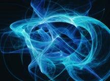 Blauer Fractal kurvt Rauchwellen auf dem schwarzen Hintergrundglühen Lizenzfreie Stockbilder