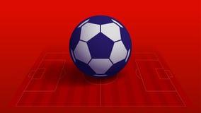 Blauer Fußball auf rotem Fußballplatzvektorhintergrund Lizenzfreies Stockfoto