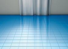 Blauer Fußboden und Trennvorhänge Stockfoto
