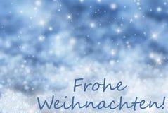 Blauer funkelnder Hintergrund, Schnee, Frohe Weihnachten bedeutet frohe Weihnachten Stockfotografie