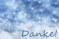 Blauer funkelnder Weihnachtshintergrund, Schnee, Danke-Durchschnitte danken Ihnen Lizenzfreie Stockfotografie