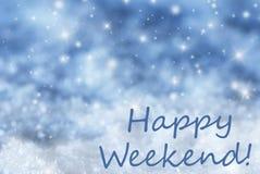 Blauer funkelnder Weihnachtshintergrund, Schnee, simsen glückliches Wochenende Lizenzfreie Stockfotos